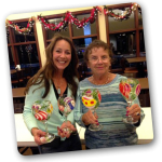 Christmas wine glass painting activity for adults